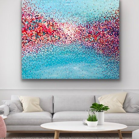 (CreativeWork) Flamingo Dancing  by Theo Papathomas. Oil Paint. Shop online at Bluethumb.
