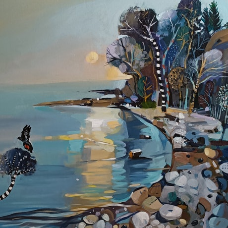 (CreativeWork) Abstract landscape  - Rock Bay by Susan Trudinger. Acrylic Paint. Shop online at Bluethumb.