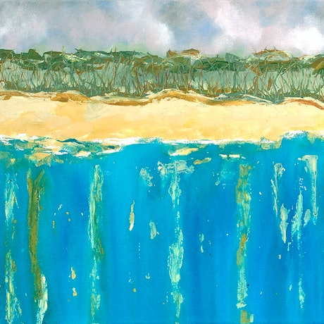 (CreativeWork) Treelines on The Beach and The Deep Dark Blue by Scott Jackson. Mixed Media. Shop online at Bluethumb.