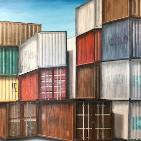 (CreativeWork) Shipping Containers (Series 2) by Dianne Fix. Oil Paint. Shop online at Bluethumb.