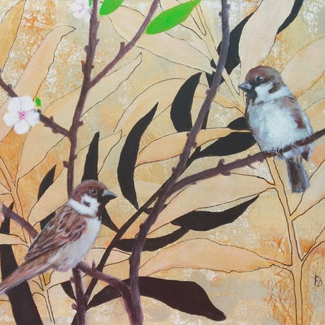 (CreativeWork) Spring is coming / Sparrows  by Paola Ditel. Acrylic Paint. Shop online at Bluethumb.