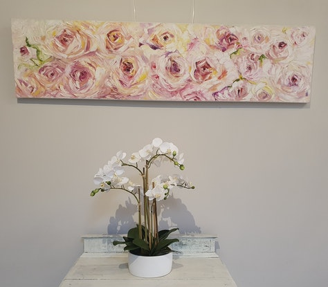 "(CreativeWork) ""A Rose is a Rose, is a Rose"" (Gertrude Stein) by Jeanette Giroud. Oil Paint. Shop online at Bluethumb."