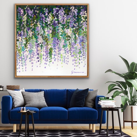 (CreativeWork) Wisteria on white 102x102 framed large textured abstract flowers by Sophie Lawrence. Acrylic Paint. Shop online at Bluethumb.