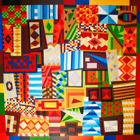 (CreativeWork) geometric patterns by mary shackman. Oil Paint. Shop online at Bluethumb.