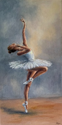 (CreativeWork) Ballerina in White (112) by Janetha Poisson Lyon. Oil Paint. Shop online at Bluethumb.