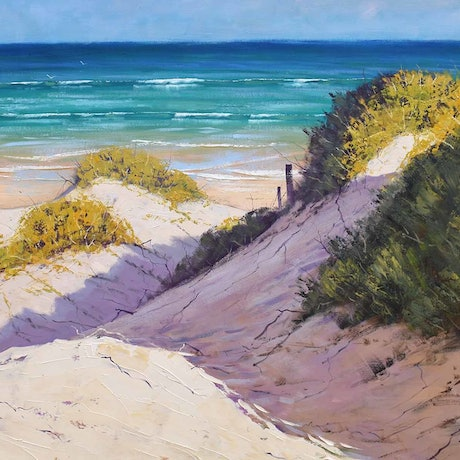 (CreativeWork) Large beach Dunes Central Coast nsw by Graham Gercken. Oil Paint. Shop online at Bluethumb.