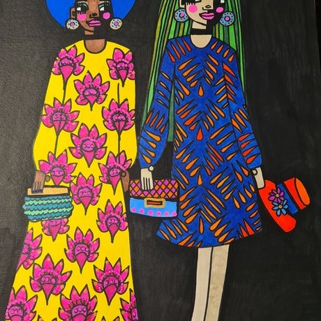 (CreativeWork) Fabulous Ladies  by jane ruggiero. Drawings. Shop online at Bluethumb.