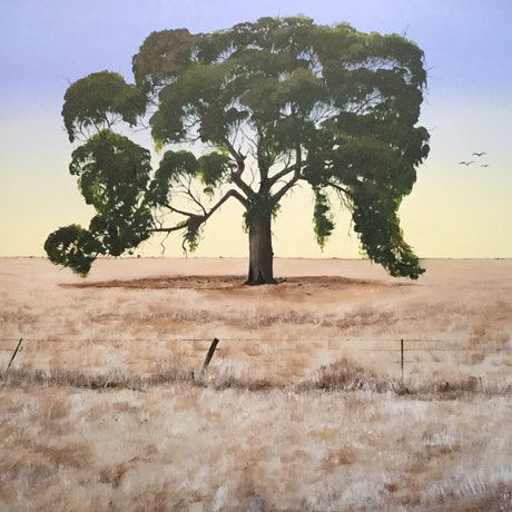 (CreativeWork) Tree in a paddock by Geoff Lugg. Acrylic Paint. Shop online at Bluethumb.