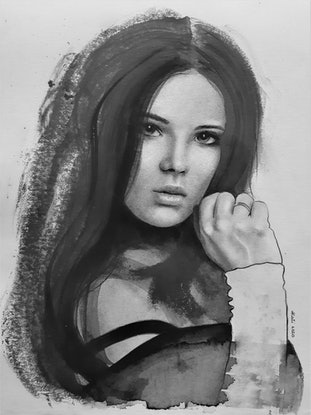 Charcoal portrait of brunette woman with hand up to face.