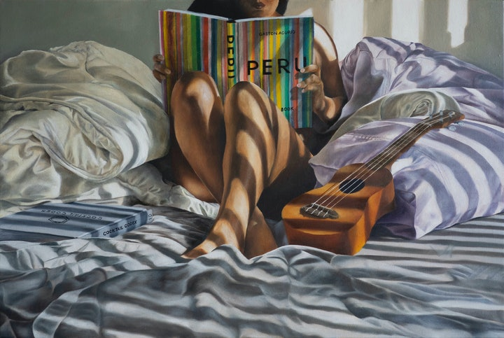 (CreativeWork) Cosy Sun Soaked Afternoon by Sarah Park. Oil Paint. Shop online at Bluethumb.