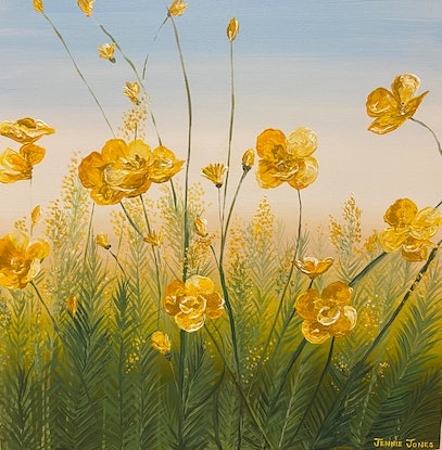 (CreativeWork) Buttercup meadow  by Jennie Jones. Acrylic Paint. Shop online at Bluethumb.