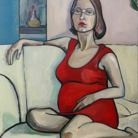 (CreativeWork) Woman in red by Liza Merkalova. Oil Paint. Shop online at Bluethumb.