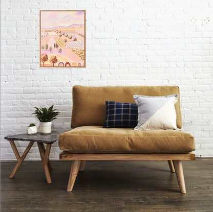 (CreativeWork) Sunset Dreaming in earthy pastel tones - Abstract Landscape by Daniela Fowler. Acrylic. Shop online at Bluethumb.