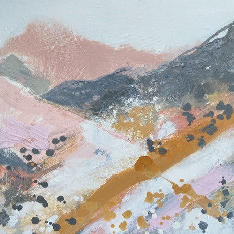 (CreativeWork) Small Rustic Hills No 2 by Kathleen Rhee. Acrylic Paint. Shop online at Bluethumb.