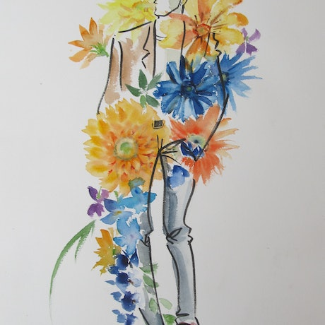 (CreativeWork) Flower bouquet No.01 by Ikuko Maddox. Watercolour Paint. Shop online at Bluethumb.