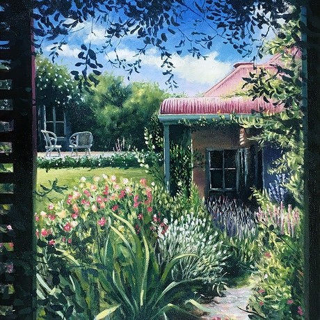 (CreativeWork) Up The Garden Path by David Clare. Oil Paint. Shop online at Bluethumb.
