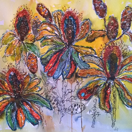 (CreativeWork) RAINBOW BANKSIA by Frances Swan. Mixed Media. Shop online at Bluethumb.