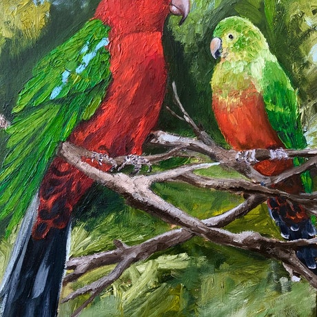 (CreativeWork) Mr and Mrs King by Amanda Hunt. Oil Paint. Shop online at Bluethumb.