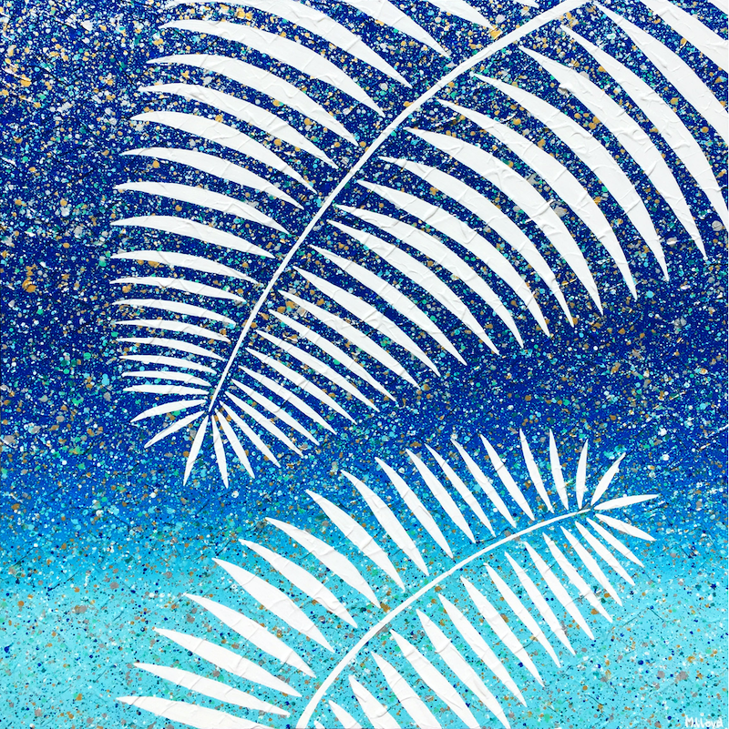 (CreativeWork) Palm Tree Leaves Textured Abstract by Miranda Lloyd. Mixed Media. Shop online at Bluethumb.