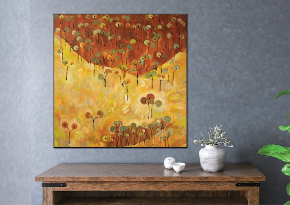 (CreativeWork) Leanganook Forest & Land by Michael Wolfe. Acrylic Paint. Shop online at Bluethumb.