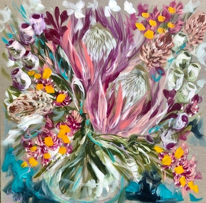 (CreativeWork) Celebration protea  by Amanda Brooks. Acrylic Paint. Shop online at Bluethumb.