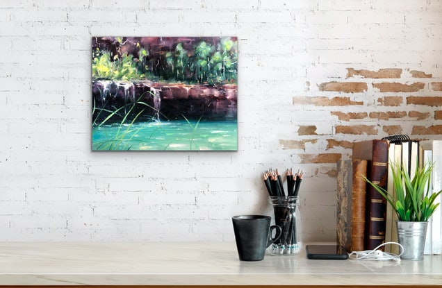 (CreativeWork) Hazey Morning Fern Pool by Jo Meredith. Oil Paint. Shop online at Bluethumb.