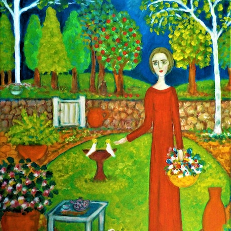 """(CreativeWork)   """"Home in the garden  2 """" by Catherine Walker. Acrylic Paint. Shop online at Bluethumb."""