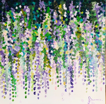 (CreativeWork) Wisteria on white 2. Framed large textured abstract floral  by Sophie Lawrence. Acrylic Paint. Shop online at Bluethumb.