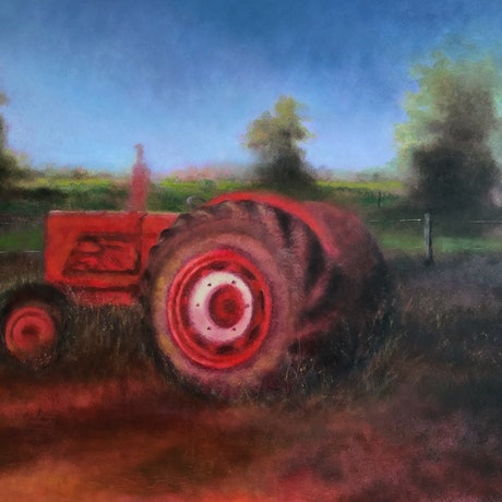 (CreativeWork) The Red Tractor by Melissa Kenihan. Oil Paint. Shop online at Bluethumb.