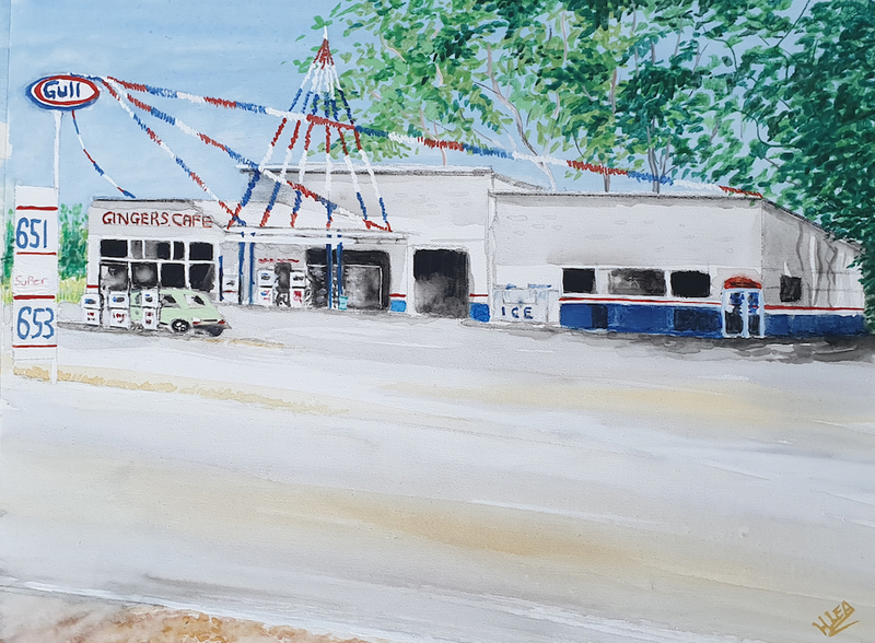 (CreativeWork) Ginger's Roadhouse by Harry Lea. Watercolour Paint. Shop online at Bluethumb.