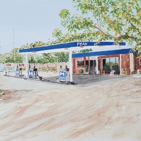 (CreativeWork) Minilya Roadhouse by Harry Lea. Watercolour Paint. Shop online at Bluethumb.