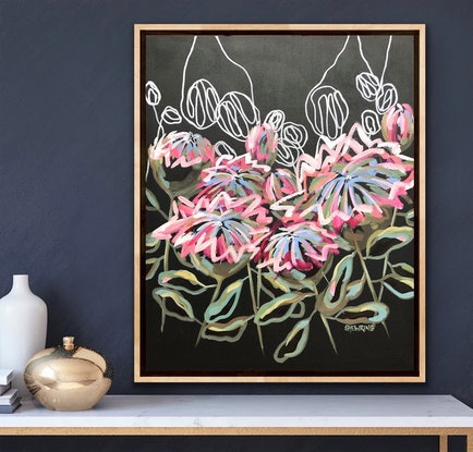 (CreativeWork) Wild Protea - Abstract Flowers by Jen Shewring. Acrylic. Shop online at Bluethumb.