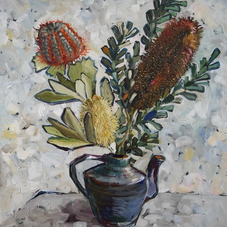 (CreativeWork) Still Life with Banksias by Katerina Apale. Oil Paint. Shop online at Bluethumb.