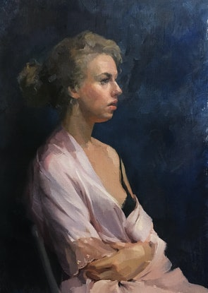 woman with pink silk gown