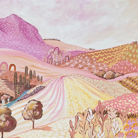 (CreativeWork) Pink Rock Contemporary Abstract Landscape - pastel tones by Daniela Fowler. Acrylic Paint. Shop online at Bluethumb.