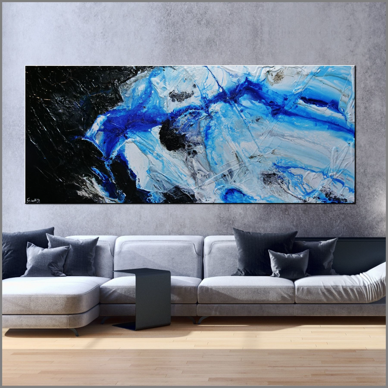 (CreativeWork) Nomadic Blue 240cm x 100cm Black Blue Textured Abstract Franko by _Franko _. Acrylic Paint. Shop online at Bluethumb.