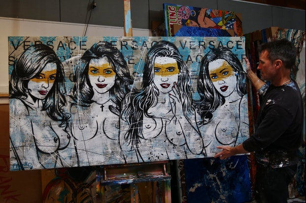 (CreativeWork) Parading - Girls Light Up 190cm x 100cm Sexy Nude Models Concrete Textured Urban Pop Art Franko by _Franko _. Mixed Media. Shop online at Bluethumb.