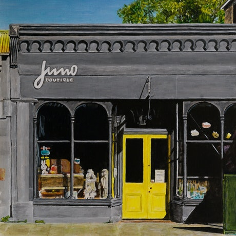 (CreativeWork) Juno Boutique, Port Fairy by Paul Burman. Acrylic Paint. Shop online at Bluethumb.