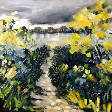 (CreativeWork) Walk with me by Ann Rayment. Acrylic Paint. Shop online at Bluethumb.