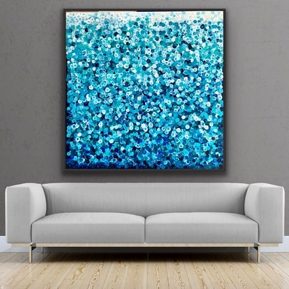 (CreativeWork) Ming dynasty 122x122 framed large textured abstract  by Sophie Lawrence. Acrylic Paint. Shop online at Bluethumb.