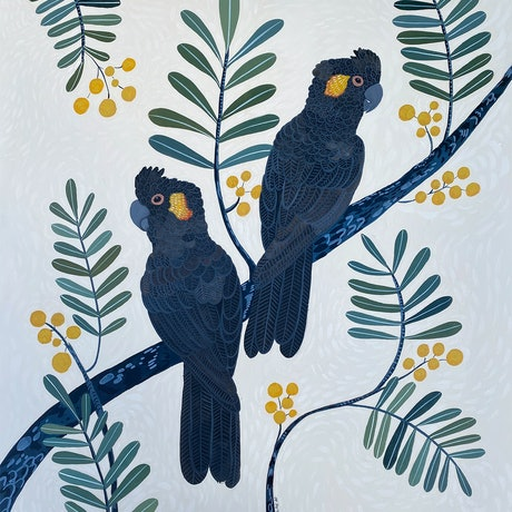 (CreativeWork) Black Cockatoos and Golden Wattle by Sally Browne. Acrylic Paint. Shop online at Bluethumb.