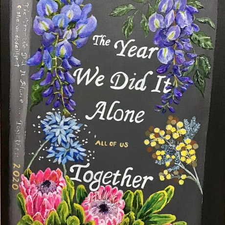 (CreativeWork) The Year We Did It Alone...Together -  painted book cover on deep edged canvas by Sharon DeSailly. Acrylic Paint. Shop online at Bluethumb.