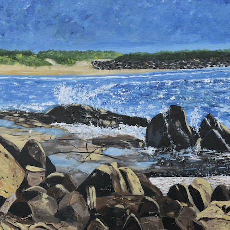 (CreativeWork) Rock Pools by Sharon Robards. Acrylic Paint. Shop online at Bluethumb.