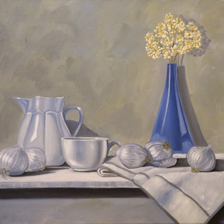 (CreativeWork) The Blue Vase by Sandhya Padma. Oil. Shop online at Bluethumb.