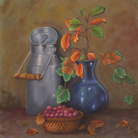 (CreativeWork) An autumn morning by Sandhya Padma. Oil. Shop online at Bluethumb.