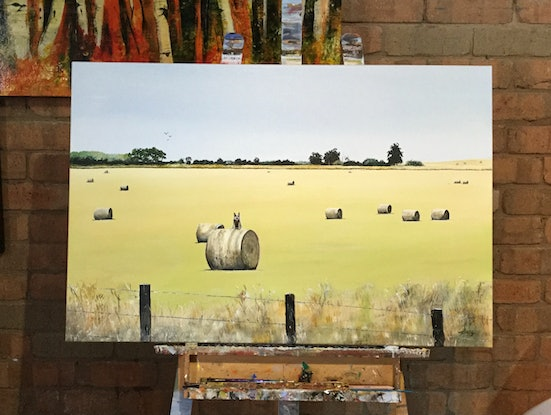 (CreativeWork) Bluey on a bale by Geoff Lugg. Acrylic Paint. Shop online at Bluethumb.