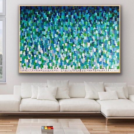 (CreativeWork) River song 183x122 framed large abstract  by Sophie Lawrence. Acrylic Paint. Shop online at Bluethumb.