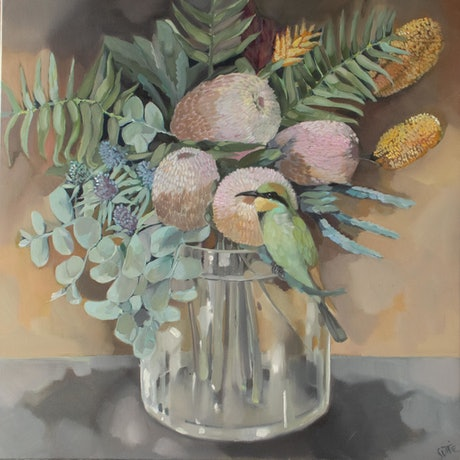(CreativeWork) Rainbow Beeeater and Banksia by Sam Suttie. Oil Paint. Shop online at Bluethumb.