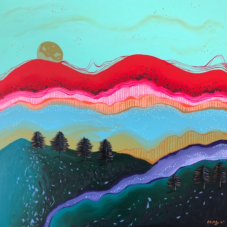 (CreativeWork) Full moon rising by emma whitelaw. Acrylic Paint. Shop online at Bluethumb.
