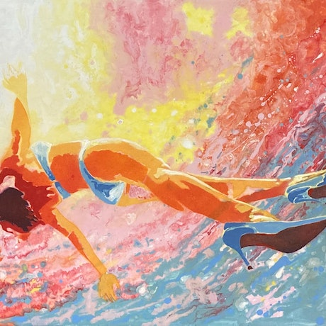 (CreativeWork) Afternoon swim in my Louboutin's by Kerry Inkster. Acrylic Paint. Shop online at Bluethumb.